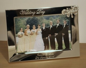 Personalised Engraved Photo Frame ~ Silver Plated with Diamante Butterfly ~ Gift for Bride & Groom, Wedding Day, Anniversary, Engagement