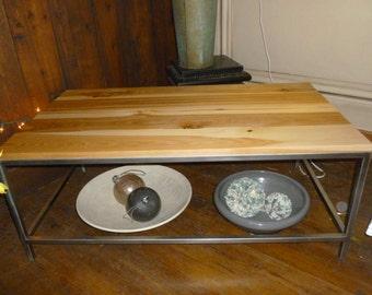 Rustic Modern Wood Top Stainless Steel Table