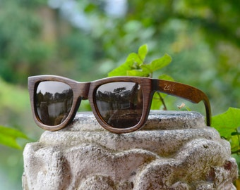 Wood Sunglasses. Wayfarer. Mens Sunglasses. Womens Sunglasses. Eco-Friendly Bamboo. Black Polarized Lens