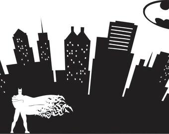 Batman / Batgirl Cityscape Bat Symbol Silhouette / DC Comics / home / kids room décor / wall decal / vinyl graphic art / window sticker