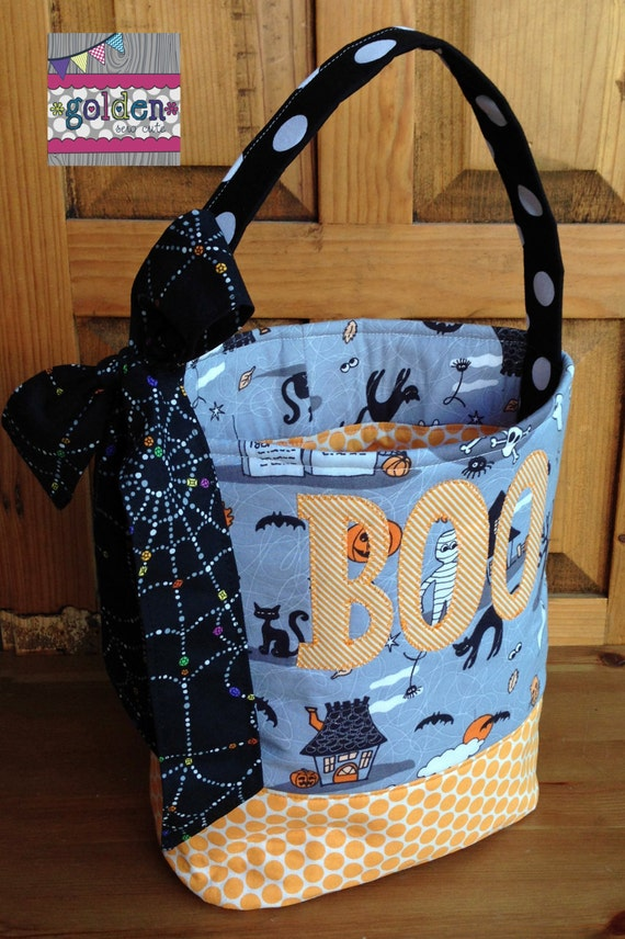 Personalized Halloween Trick or Treat Fabric Bag, Candy Bucket with bow, Wicked and Webs