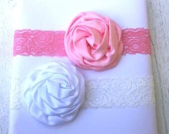 Lace Rosette Headband, Baby Headband