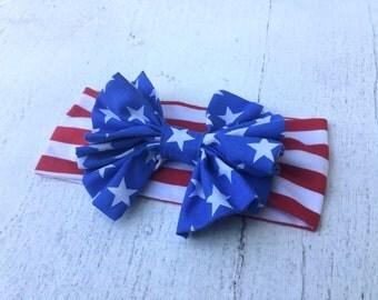 4th of July Headband, Stars and Striped Headband, 4th of July Headwrap, Stars and Stripes Headwrap