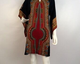 Vintage dress, black brown kimono, african inspired print, kimono sleeve dress, kimono mini,