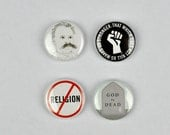 Friedrich Nietzsche Badges, buttons, philosopher, god is dead, Übermensch, existentialism, postmodernism,
