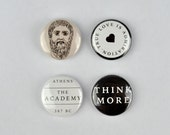 Plato Badges, buttons, philosopher, Socrates, Aristotle, Academy in Athens, Greek,  Western philosophy,