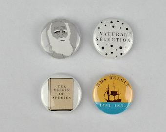 Charles Darwin Badges, Evolution, Natural Selection, Survival of the Fittest, Origin of Species