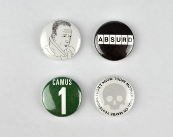 Albert Camus Badges, buttons, absurdism, the rebel, the stranger, fall, plague, existentialism, france, philosopher