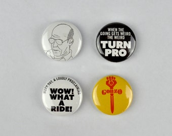 Hunter S. Thompson Badges, buttons, fear and loathing, ralph steadman, gonzo, aspen, drugs culture,