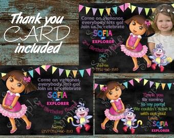 Dora the Explorer Invitation, Dora Invitation, Dora and Boots invitation, Dora birthday party invtiation, Dora the Explorer Thank you card