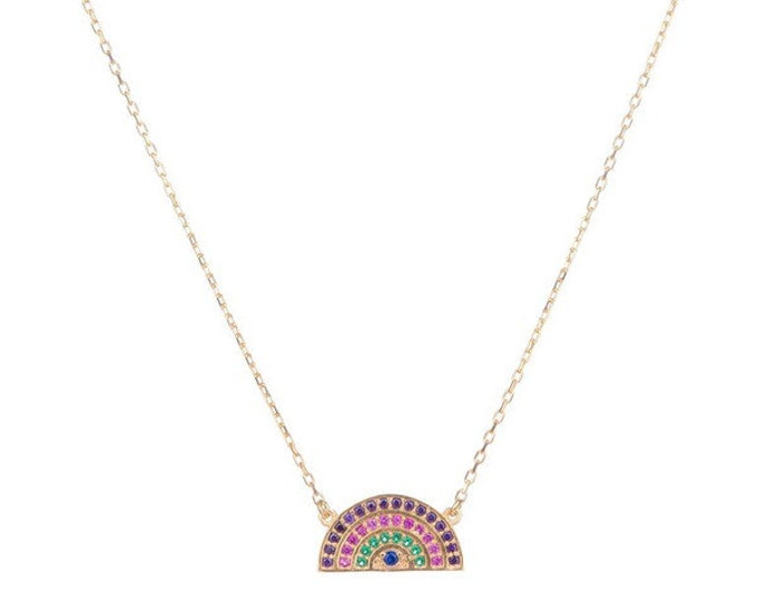 Rainbow Necklace CZ Necklace Cubic Zirconia Rainbow Pendant Rainbow Charm Rainbow Jewelry Rainbow Jewellery Crystal Necklace Colorful
