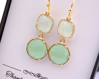 Light Green Mint Earrings, Gold Earrings, Green Earrings, Wedding Jewelry, Bridesmaid Earrings, Pistachio, Bridesmaid Jewelry, Dangle, Gifts
