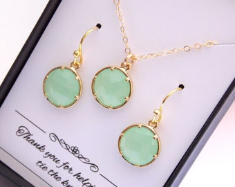Gold Light Green Mint Earrings, Pistachio Earring and Necklace Set, Initial, Personalized, Gold Filled, Bridesmaid Jewelry Set, Gift Set