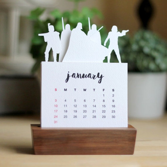 2018 Minimalist Paper Cut Desk Calendar With Solid Wood Stand