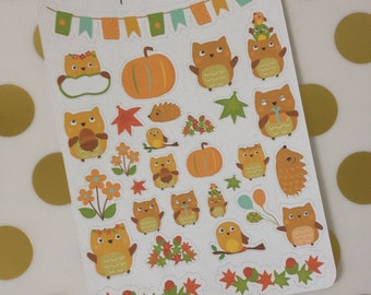 Planner Stickers - Autumn Owls, Fall Owls