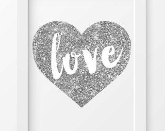 Silver Glitter Heart Print, Heart print, Wall art, Love print, Printable art, Love printable, Fashion print, Glitter print, Home decor, Love