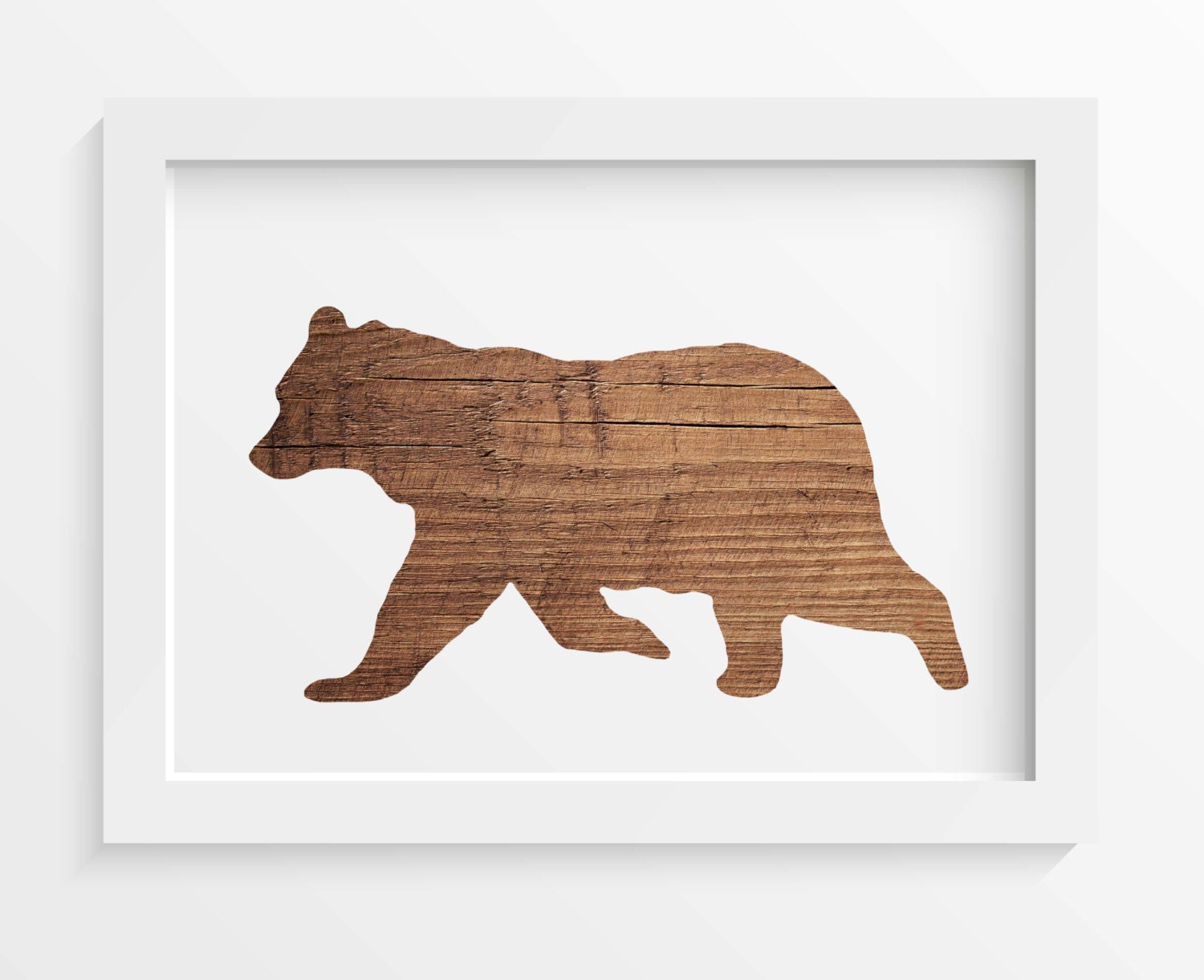 Rustic wood bear print bear wall art rustic home decor for Rustic bear home decor