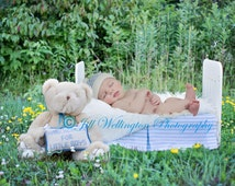 DIGITAL background for baby, child, infant, newborn, kid photo photography prop for photographers: Baby Boy Bed