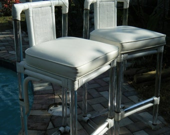 pair of vintage lucite bar stools white wicker rattan wrapped on lucite four seasons furniture company