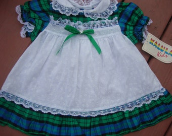 VINTAGE..NEW...size 12 month Plaid & Lace dress.Baby.Girl.