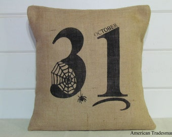 Burlap Pillow- Halloween Decor, October 31st, Decorative Pillow, Halloween Pillow,