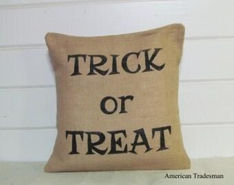 Burlap Pillow- Halloween Decor, Trick Or Treat Pillow