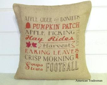 Burlap Pillow- Fall Decor, Typography, Autumn Decor, Thanksgiving, Burlap Fall Pillow