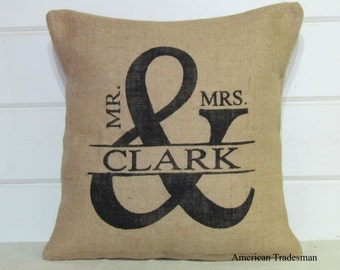 Burlap Pillow- Mr. And Mrs./ Personalized, Wedding Anniversary Brides Christmas Gift, Shabby Chic Decor, Monogrammed