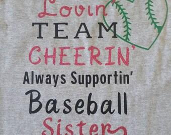 Personalized sister baseball  young shirt.