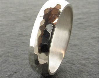 Pebble hammered 18ct mens white gold wedding ring 6mm wide
