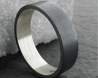 Wedding ring, black coloured wedding band, full brushed finish