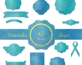 Watercolor shapes,48 Watercolor  cliparts,  Watercolor PNG,  Wedding invitation, DIY elements, invite, greeting card Id#WSPBL