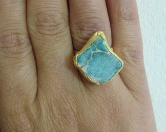 Ring, Gemstone Ring ,Turquoise Ring, Gold Filled Ring, Handmade Ring, Free Size Ring, Christmas gift, Gold Plate Ring, Gift for  Her