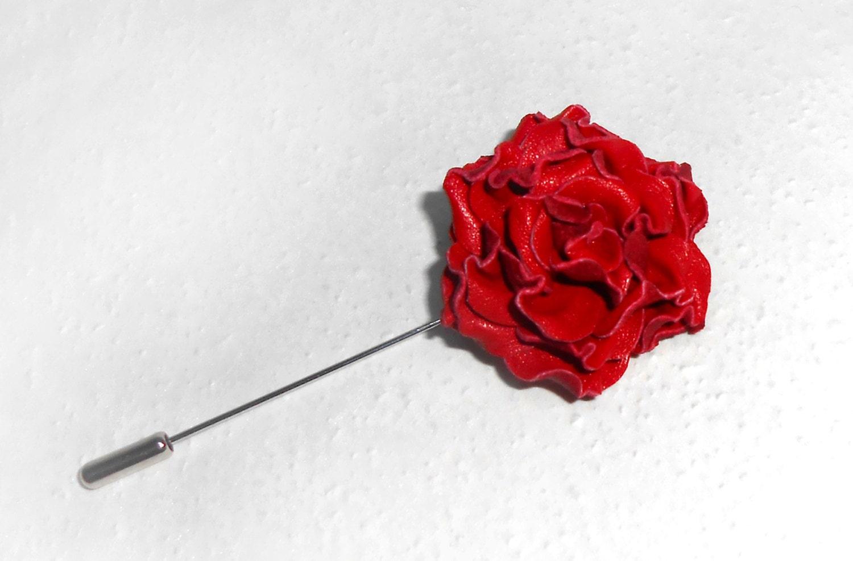 Mens Lapel Flower brooch leather rose brooch mini red flower