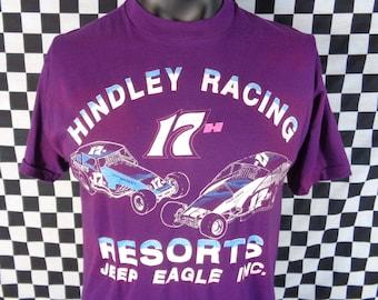 80s Racing T-shirt / Race Car Tshirt / Vintage Race Shirt / XL Racing Tee / Vtg Screen Stars / Stock Car / Hindley Racing  Resorts