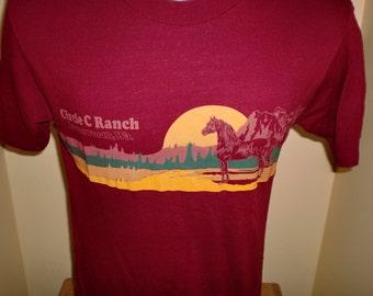 Vintage 1980's 50/50 T Shirt Size Large Bright Colors Western Cowboy Horse