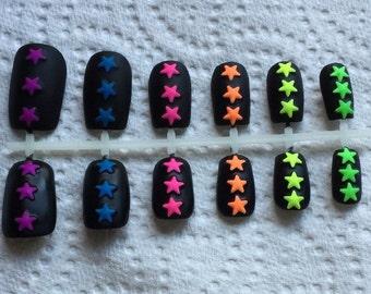 Matte Black Neon - Fake Nail Set