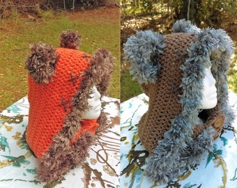 Ewok Hooded Cowl, Bear Hood, Ewok Costume, hood, hooded neckwarmer