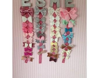 glitter letter bow holder