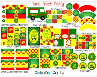 Taco Truck Party Printable Package, Taco Bar in Red, Green & Yellow
