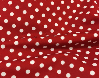 Red Tiny Polka Dot Spandex Fabric