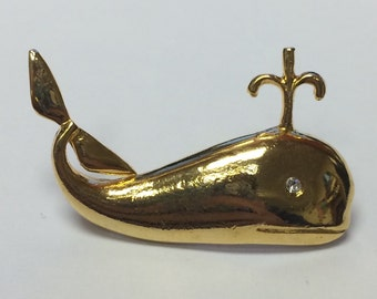 Gold Tone Whale with Rhinestone Eye Brooch Pin 9087