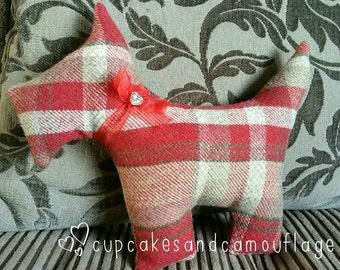 Handmade pastel Tartan Scottie Dog Scatter/Accent Cushion in Wool//Tweed//Gift for Her/Him//Christmas present//hamper item
