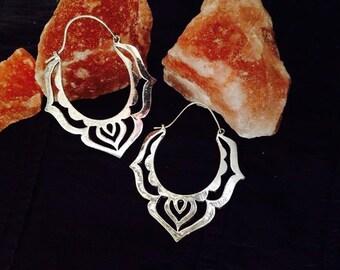 Silver Flower Hoops, Lotus Power, Gipsy Tribal Earrings