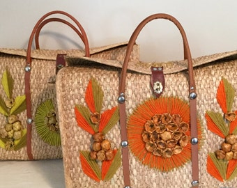 Straw Beach Bag - Large Vintage Straw Bag with Floral Design