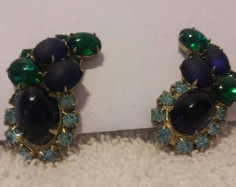 Vintage green and blue clip on earrings