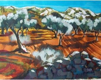 Oliviers et Alpilles - Paysage provençal original peinture à l'encre acrylique.