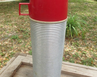 aluminum thermos, quart size, coffee, water bottle, camping