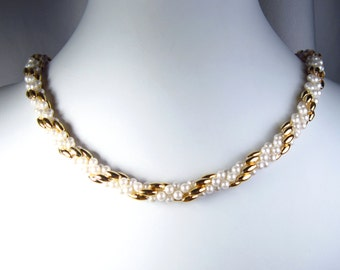 """Hand Crocheted Pearl and Gold Bead Necklace 21"""""""