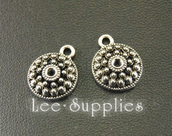 30 pcs Antique Silver Round Tag Charms A1572